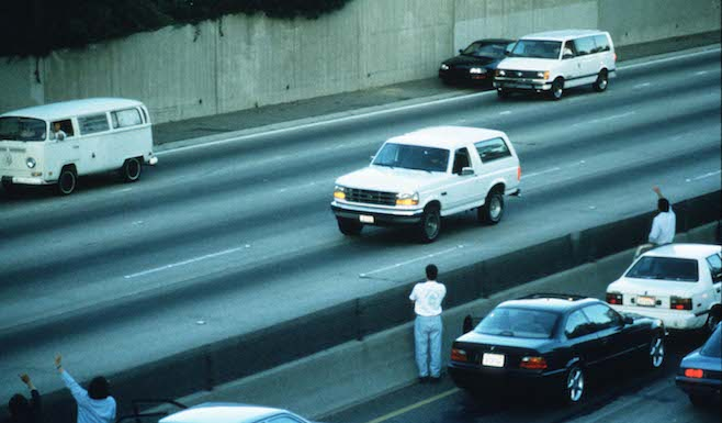 Motorists Wave At O.J. Simpson During Police Freeway Pursuit
