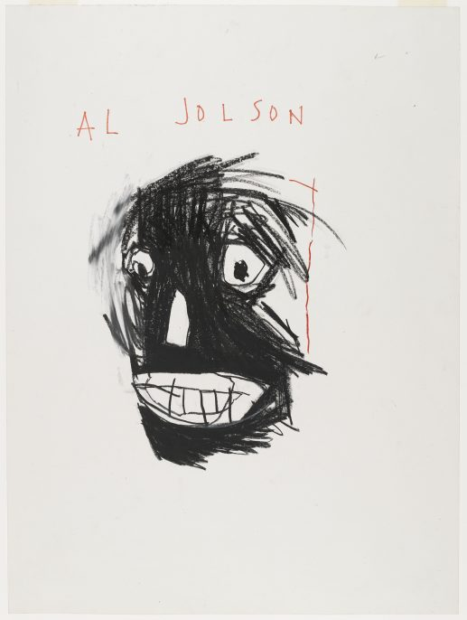 Al Jolson, 1981. Jean-Michel Basquiat (American, 1960–1988). Oilstick on paper; 24 x 18 in. Brooklyn Museum, Gift of Estelle Schwartz, 87.47. Copyright © Estate of Jean-Michel Basquiat, all rights reserved. Licensed by Artestar, New York. Photo: Jonathan Dorado, Brooklyn Museum