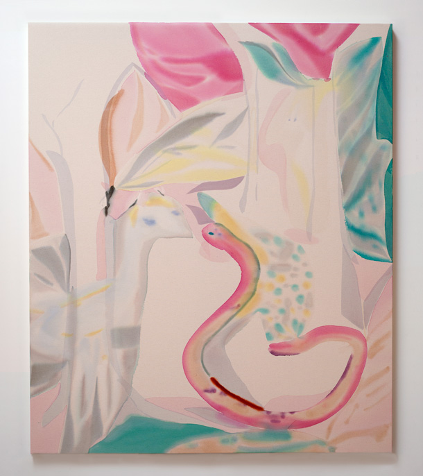 "Yuh-Shioh Wong, ""Llama with Pink Snake (Garden of Tapestries)"", 2015."