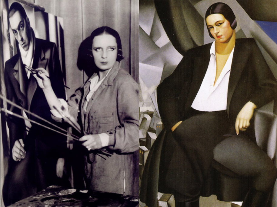 Tamara de Lempicka works on a portrait of her first husband, with her painting of the Duchess de la Salle in the background.