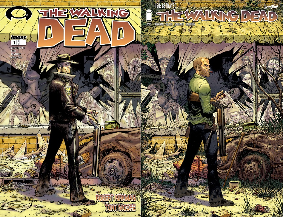 The Walking Dead 150 Cover side by side