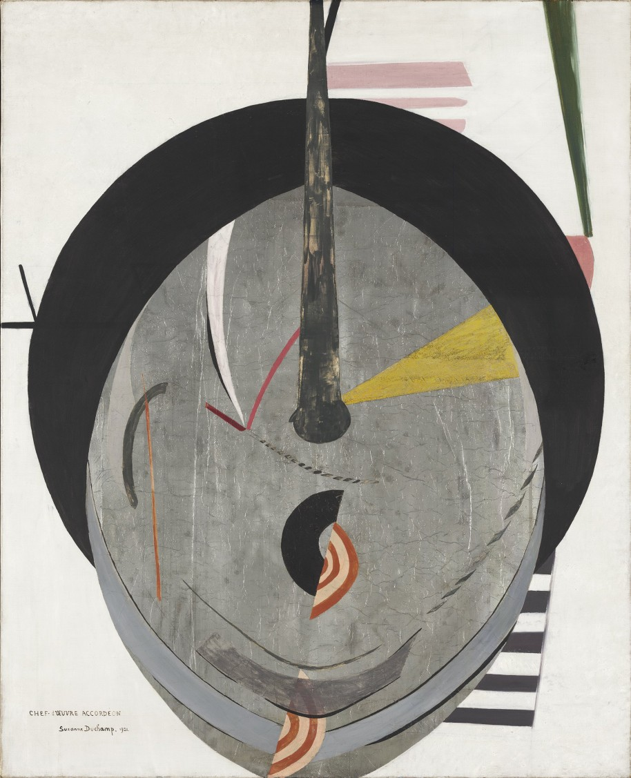 Suzanne Duchamp, Chef d'œuvre accordéon (Accordion Masterpiece), 1921. Oil, gouache, and silver leaf on canvas, 39 5/16 × 31 7/8 in. (99.8 × 80.9 cm). Yale University Art Gallery, Gift of the artist to the Collection Société Anonyme