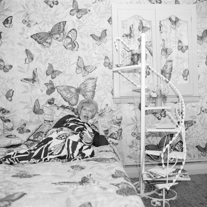Meryl Meisler. Butterfly Bedroom Telephone, East Meadow, NY , June 1975. Vintage gelatin silver print, printed 1975. 20x 141/2in. Signed, titled, dated and stamped by photographer verso.