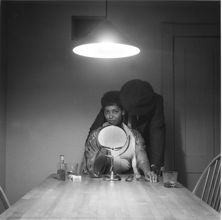 "Carrie Mae Weems. Untitled (Man and Mirror). Gelatin silver print. 28.25"" x 28.25"""