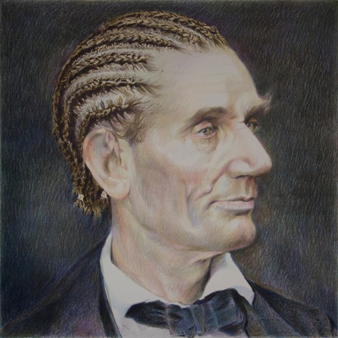 """Eric Yahnker, """"Abe Lincoln"""" (2015). Colored pencil on paper, 22x25 in."""