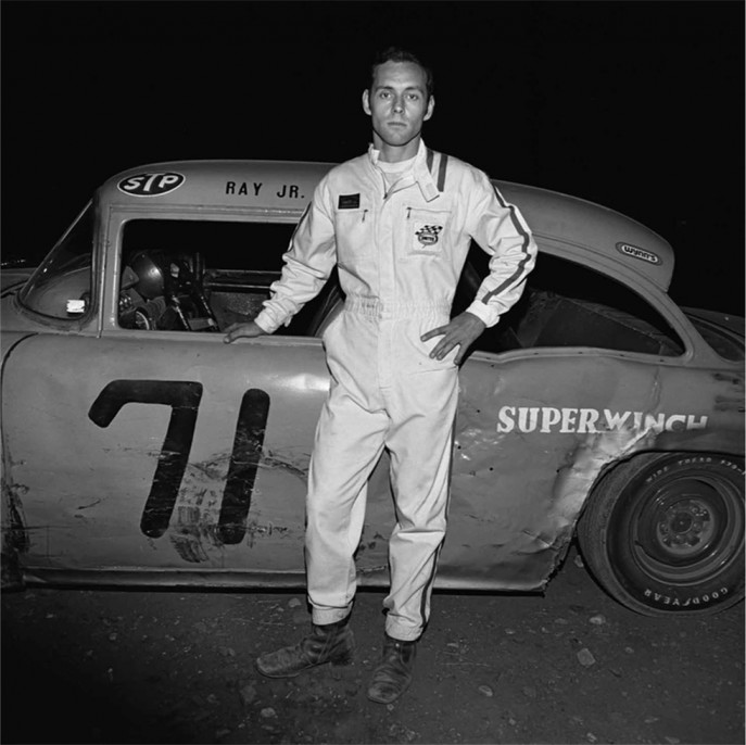 """Ray Jr.,"" Driver, Thompson Speedway, Thompson, CT, 1972, Vintage gelatin silver print"