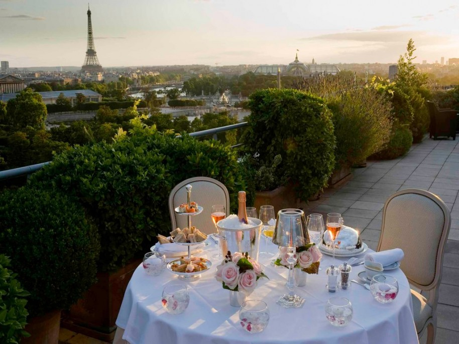 Le Meurice view from the 200 sqaure meter top floor suite and double terrace.