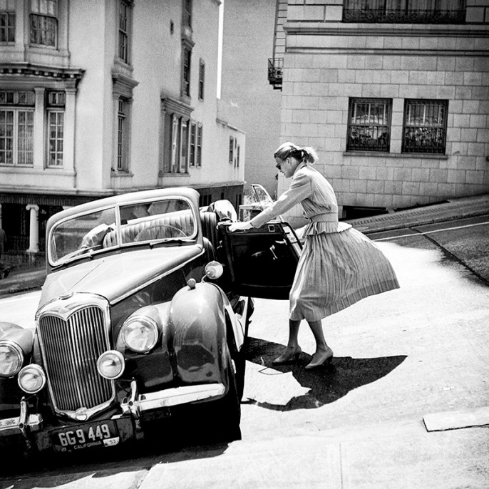 Anne with Riley, Parking on the steep hill just below the Mark Hopkins Hotel, 1940-50's