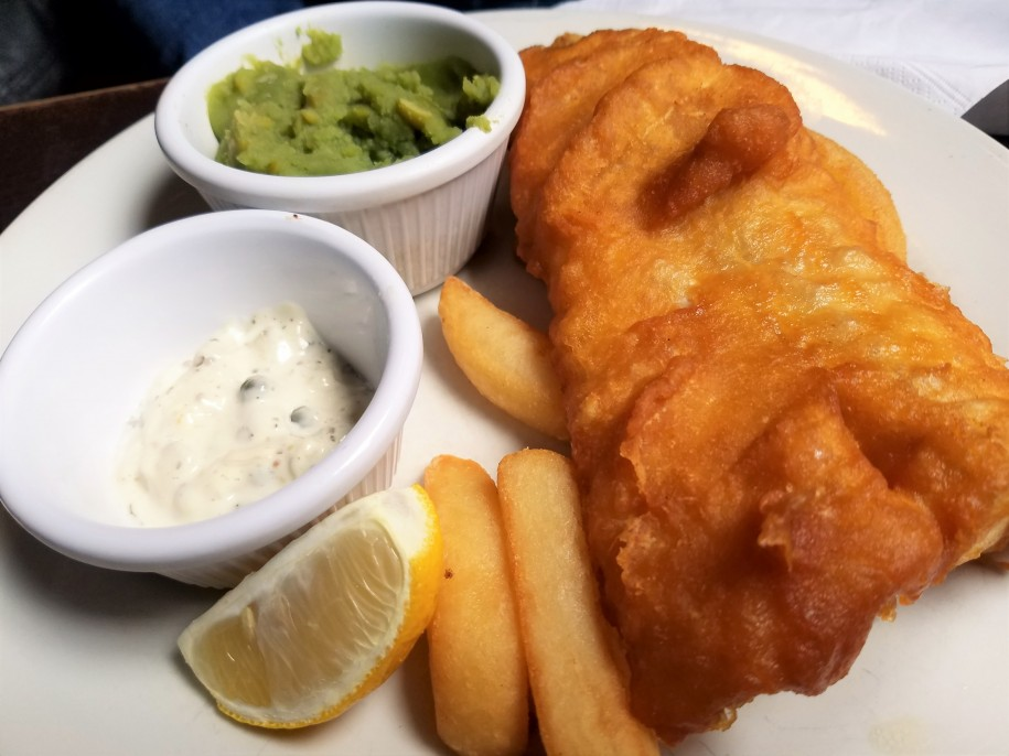 Fish and chips are a world famous British menu item. Photo by Akil Wingate.
