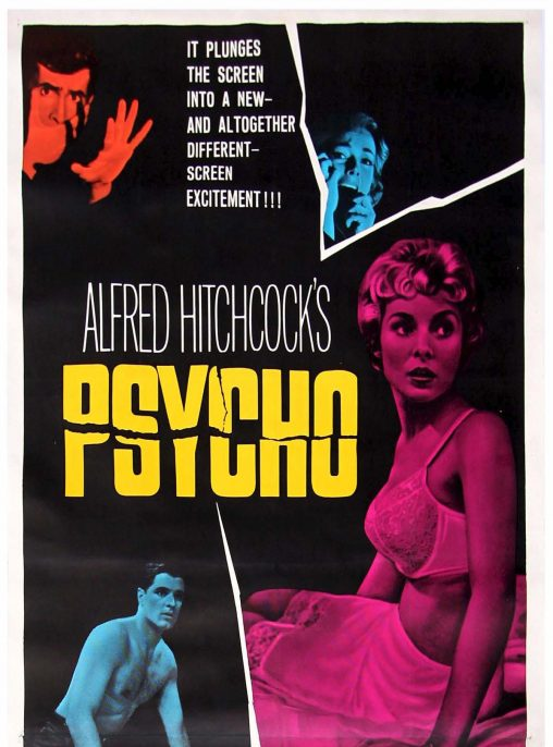 Psycho. Dir. Alfred Hitchcock. Perf. Anthony Perkins, Janet Leigh, Vera Miles, John Gavin, and Marin Balsam. Paramount, 1960. Film poster.