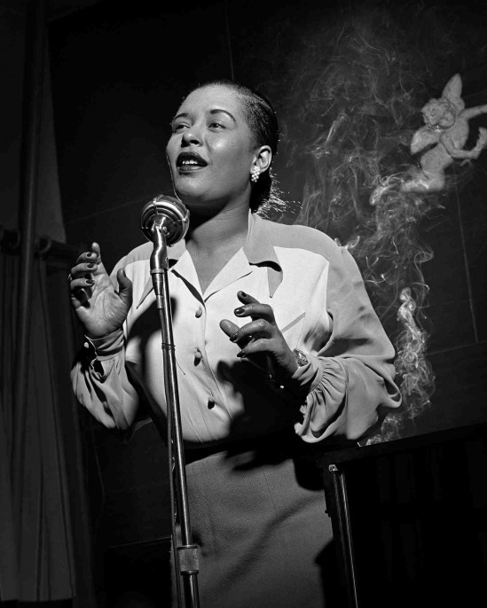Billie Holiday by Herman Leonard. Gelatin silver print, 1949