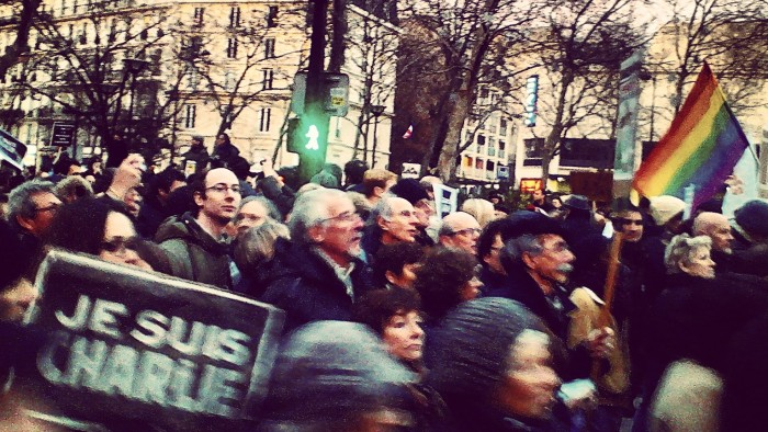 The Charlie Hebdo March saw millions march against the deadly terror attack. Photo by Akil Wingate.