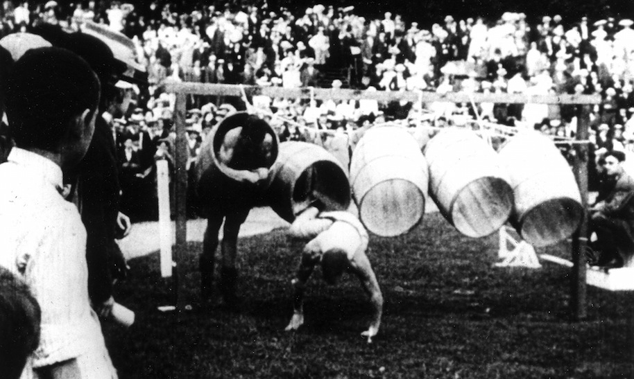 (GERMANY OUT) Olympic Games 1904 'Barrel jumping' - one of the sports at the 1904 olympics in St. Louis - 1904 (Photo by ullstein bild/ullstein bild via Getty Images)