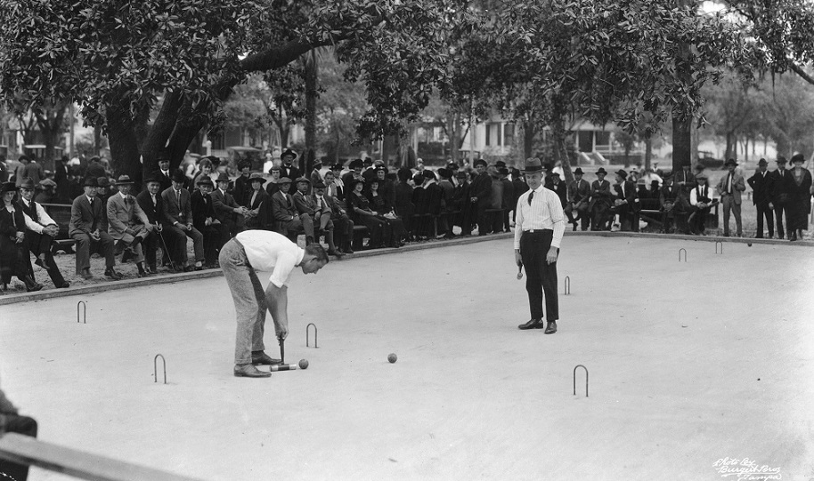 circa 1930: Roque, a type of croquet and one of the favourite winter sports at Tampa, Florida, being played on one of the Minicipal Roque Courts in Plant Park. (Photo by General Photographic Agency/Getty Images)