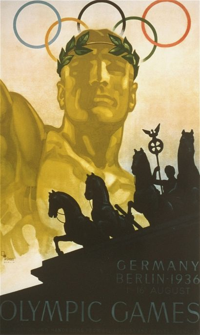 The official poster advertising, in English, the 11th Summer Olympic Games. The poster was created by Franz Wurbel. US Holocaust Memorial Museum, courtesy of John Loaring