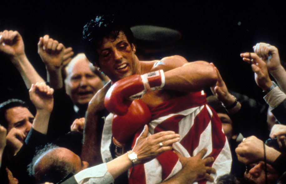 Sylvester Stallone after winning in a scene from the film 'Rocky IV', 1985. (Photo by United Artists/Getty Images)