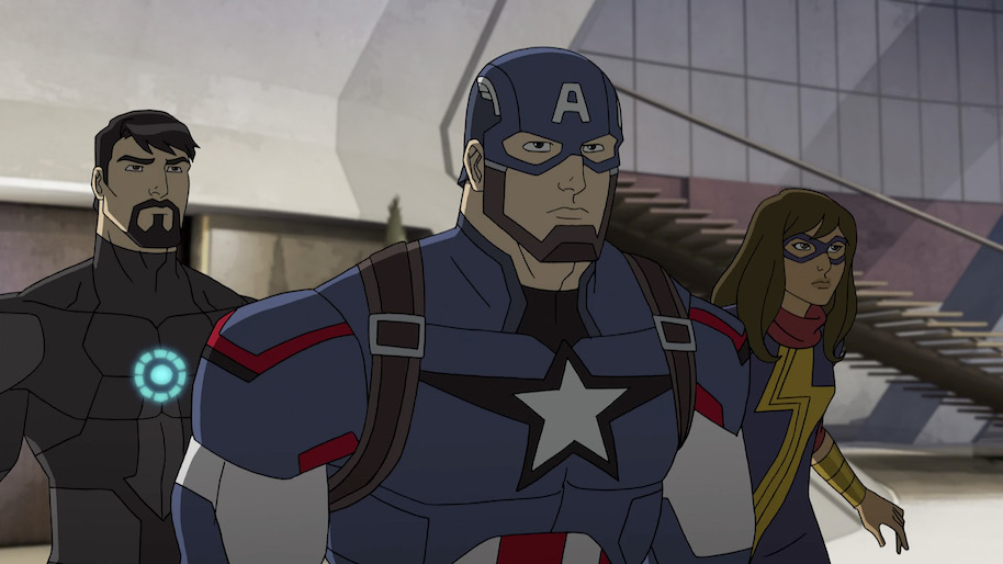 "MARVEL'S AVENGERS: ULTRON REVOLUTION - ""The Kids Are Alright"" - Captain America and Iron Man partner with new and young Inhumans - Inferno and Ms. Marvel - to stop another Inhuman, The Ghost, from stealing Friday. This episode of ""Marvel's Avengers: Ultron Revolution"" airs Sunday, August 07 (8:30 - 9:00 A.M. EDT) on Disney XD. (Photo by Marvel/ABC via Getty Images) TONY STARK, CAPTAIN AMERICA, MS. MARVEL"