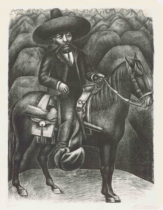 Zapata, 1931, by David Alfaro Siqueiros (Philadelphia Museum of Art: Purchased with the Lola Downin Peck Fund from the Carl and Laura Zigrosser Collection, 1976-97- 122) © Artists Rights Society (ARS), New York/SOMAAP, Mexico City