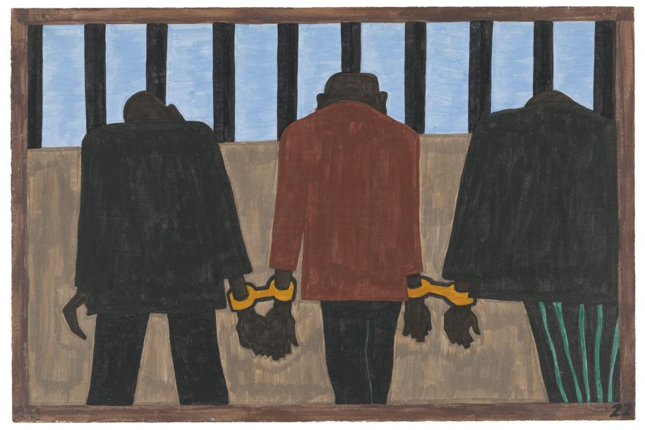 "Jacob Lawrence. The Migration Series. 1940-41. Panel 22: ""Another of the social causes of the migrants' leaving was that at times they did not feel safe, or it was not the best thing to be found on the streets late at night. They were arrested on the slightest provocation."" Casein tempera on hardboard, 18 x 12″ (45.7 x 30.5 cm). The Museum of Modern Art, New York. Gift of Mrs. David M. Levy. © 2015 The Jacob and Gwendolyn Knight Lawrence Foundation, Seattle / Artists Rights Society (ARS), New York. Digital image © The Museum of Modern Art/Licensed by SCALA / Art Resource, NY"