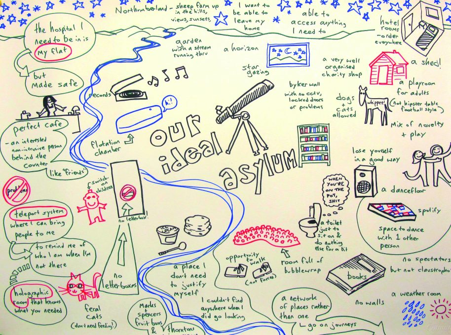 This sketch (2014) by Michael Duckett shows ideas for visually appealing, patient-centered spaces for mental health services. Courtesy the vacuum cleaner, in collaboration with Hannah Hull. Drawing by Michael Duckett.