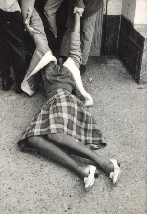 CHARLES BRITTIN, LOS ANGELES, CA, MARCH 10, 1965. Los Angeles, Getty Research Institute. Protesters being physically removed during a demonstration against the shocking violence in Selma in March 1965. No clouds of tear gas or swinging clubs are present in these scenes outside the Federal Building in downtown Los Angeles, but Brittin's tight focus immediately draws viewers into one of the most dramatic struggles he documented for CORE.