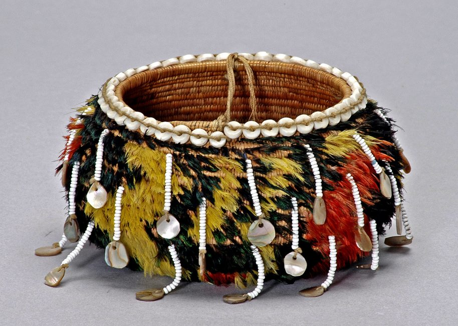 Pomo gift basket, early 20th century. Sedge, willow, glass beads, abalone shell, quail, mallard, canary, and woodpecker feathers. Gift of Mrs. Mary D. Greble. Southwest Museum of the American Indian Collection, Autry Museum.
