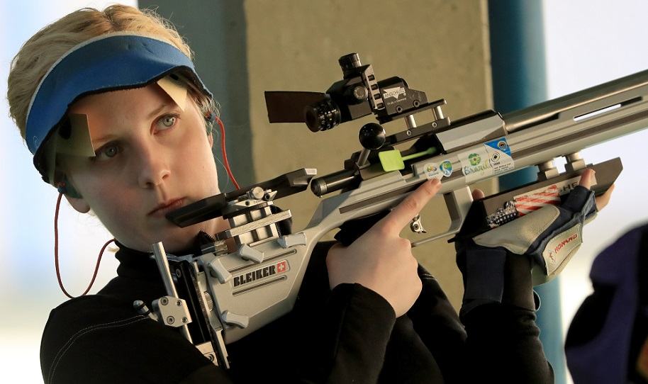 Virginia Thrasher of the United States competes in the 50m 3 Position Rifle qualifying match on Day 6 of the Rio 2016 Olympics at the Olympic Shooting Centre on August 11, 2016 in Rio de Janeiro, Brazil. (Photo by Samoa Greenwood/Getty Images)