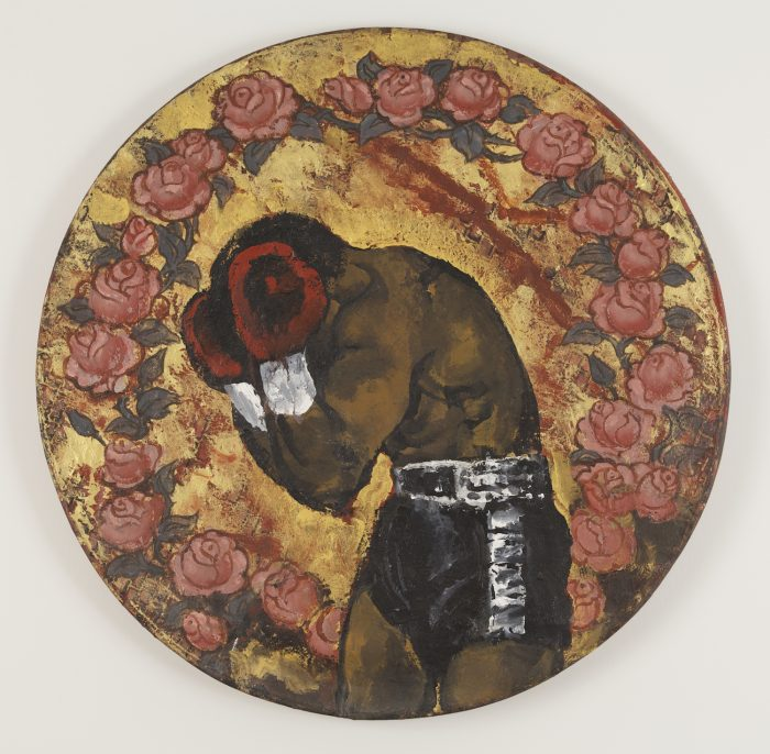 Martin Wong, Untitled (portrait of boxer with roses) c. 1984. Acrylic on canvas, 30 inch diameter. Copyright Martin Wong, Courtesy P.P.O.W.
