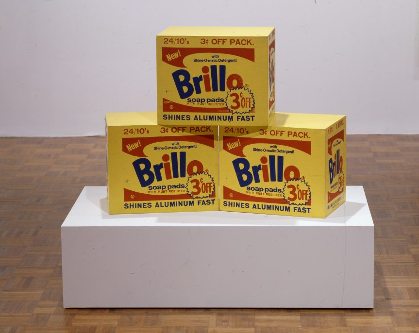 Andy Warhol, Brillo Box, c.1964, house paint and silkscreen ink on plywood each unit: 33.34 40.64 29.21 cm (13 1/8 16 11 1/2 in.) Whitney Museum of American Art, New York. Gift of The American Contemporary Art Foundation, Inc., Leonard A. Lauder, President © 2016 The Andy Warhol Foundation for the Visual Arts, Inc./Artists Rights Society (ARS), New York. Photography by Jerry L. Thompson