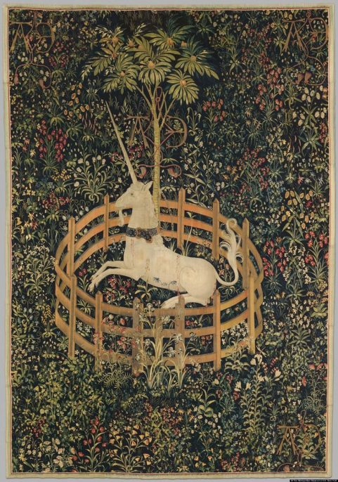 """The Unicorn in Captivity (from the """"Unicorn Tapestries""""), 1495–1505. Courtesy of the Metropolitan Museum of Art."""