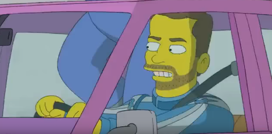 Earnhardt Jr. as a Simpsons character.