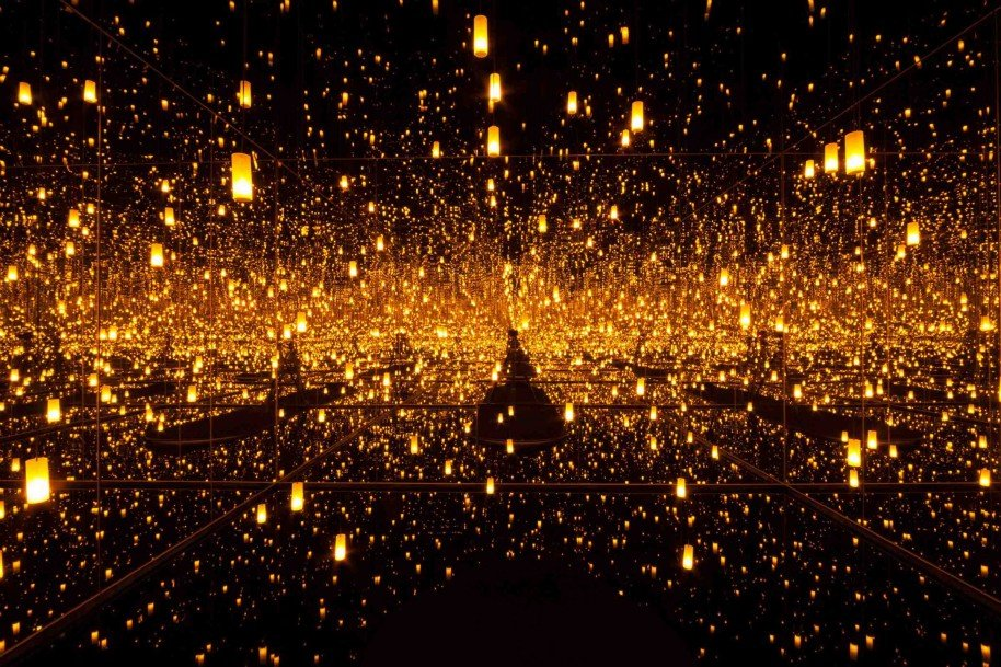 Yayoi Kusama, Aftermath of Obliteration of Eternity, 2009, wood, metal, glass mirrors, plastic, acrylic paint, LED lighting system, and water, the Museum of Fine Arts, Houston, Museum purchase funded by the Caroline Wiess Law Accessions Endowment Fund.