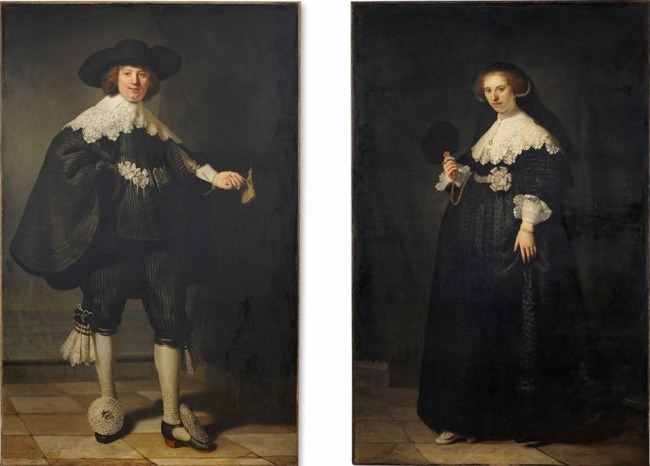 Rembrandt van Rijn. Pendant portraits of Maerten Soolmans and Oopjen Coppit, 1634, oil on canvas, 2x (208 x 132cm). © Rijksmuseum and the Louvre, Courtsy of Wikmedia Commons