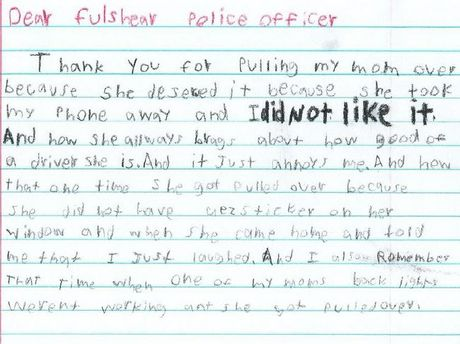 boy writes police, Huggins Elementary School, Fulshear Police Department