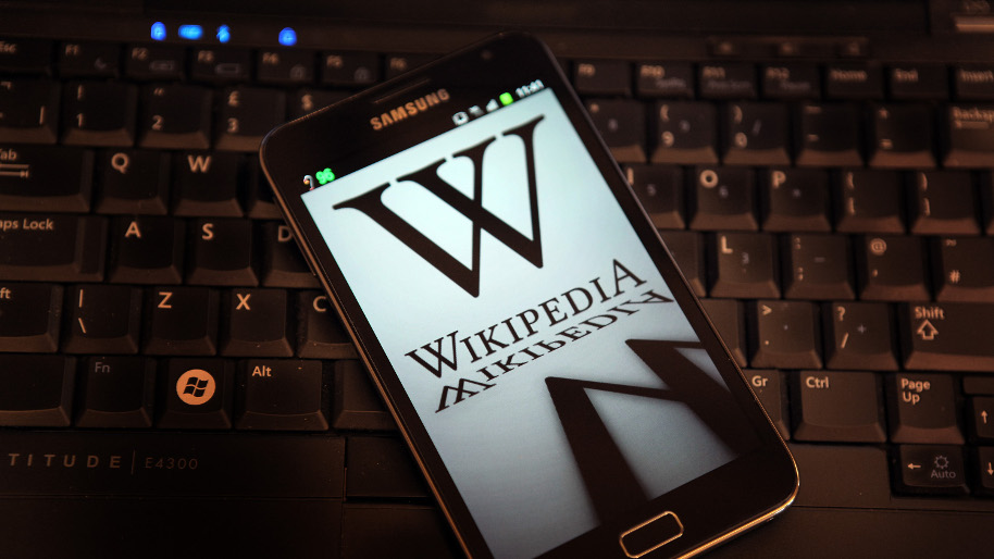 Wikipedia logo on a smartphone
