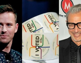 Who Wore It Better: Armie Hammer And Jeff Goldblum Elect 'I Voted' Sticker Style