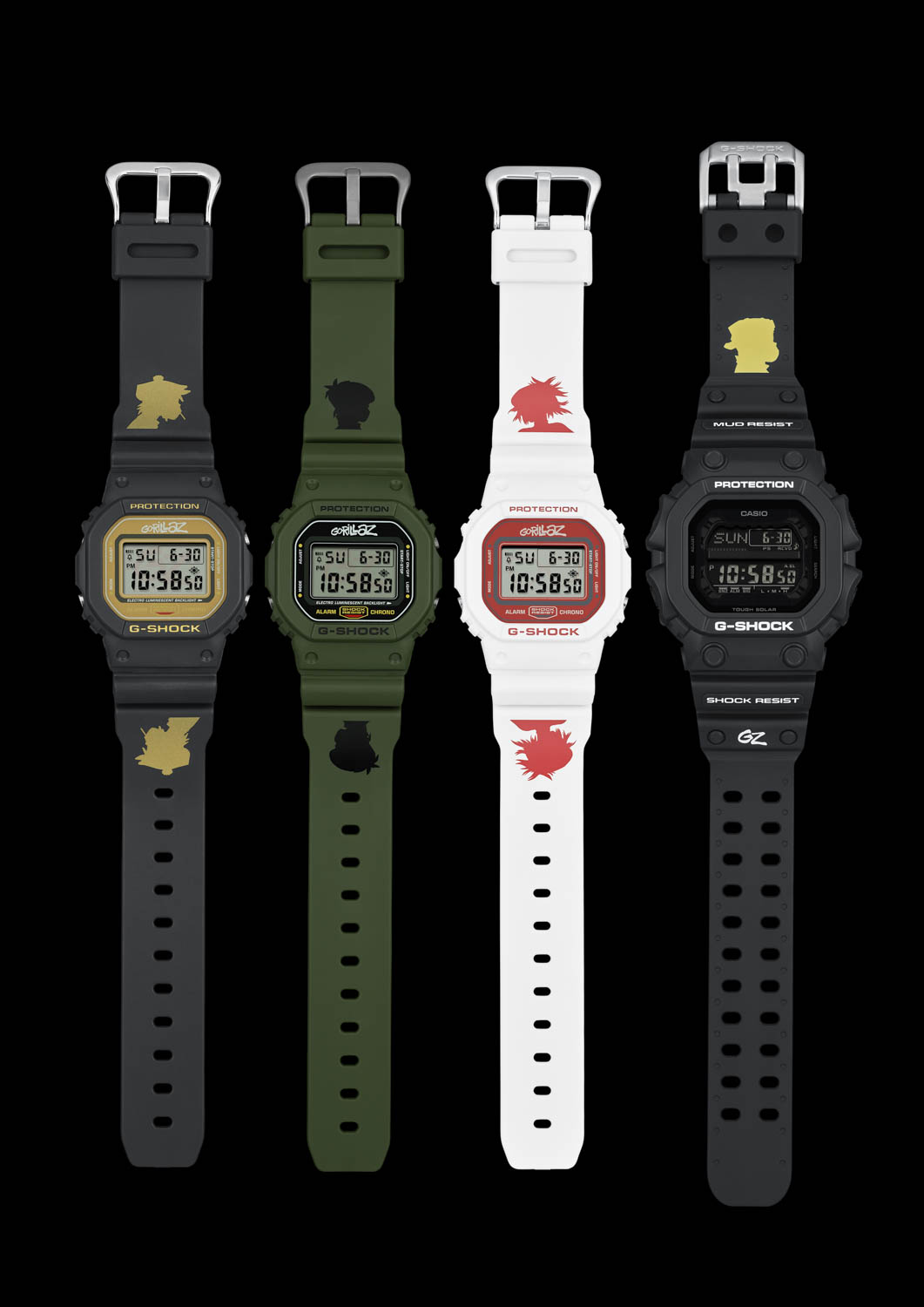 Collection of Casio G-Shock x Gorillaz Collab