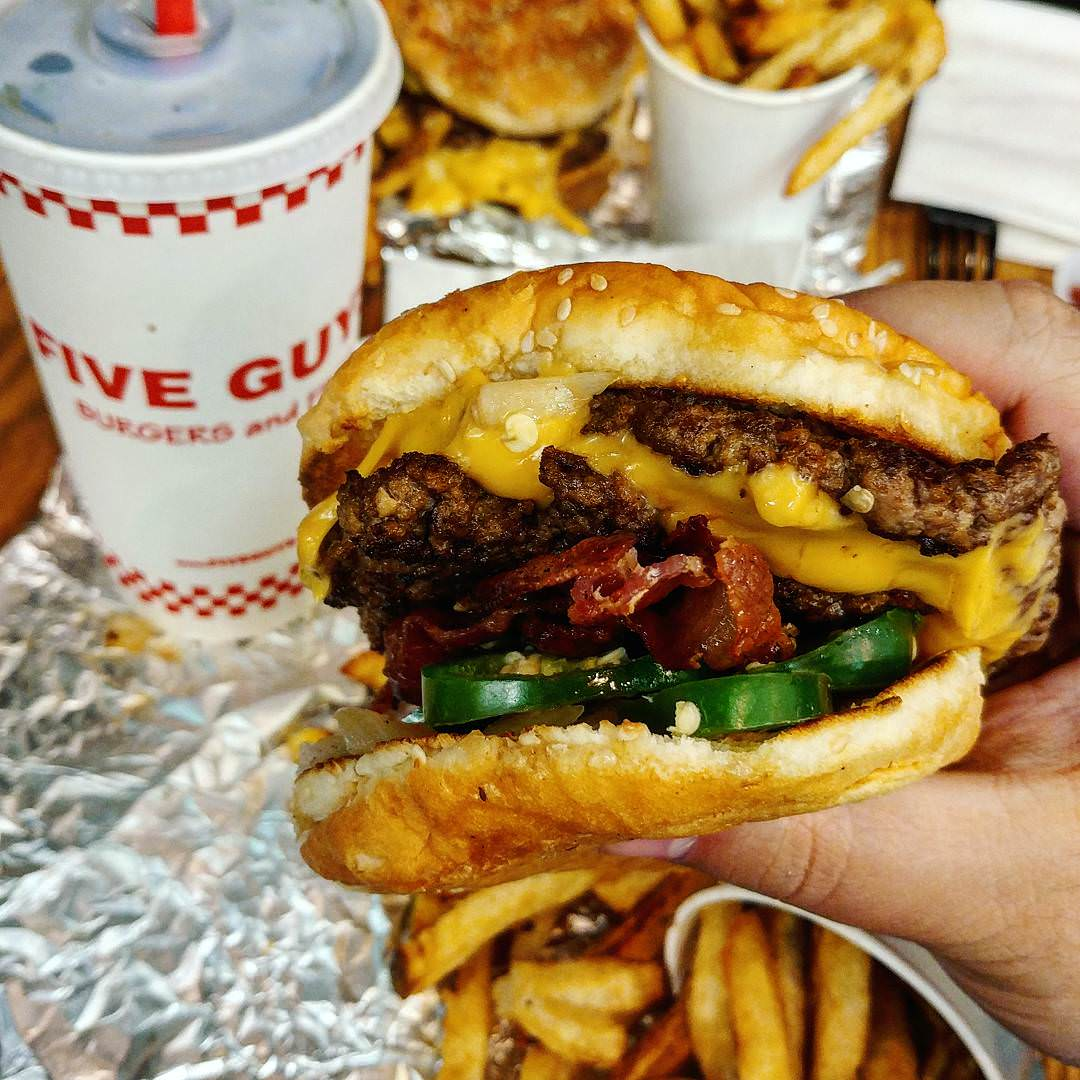 9. Five Guys Bacon Cheeseburger