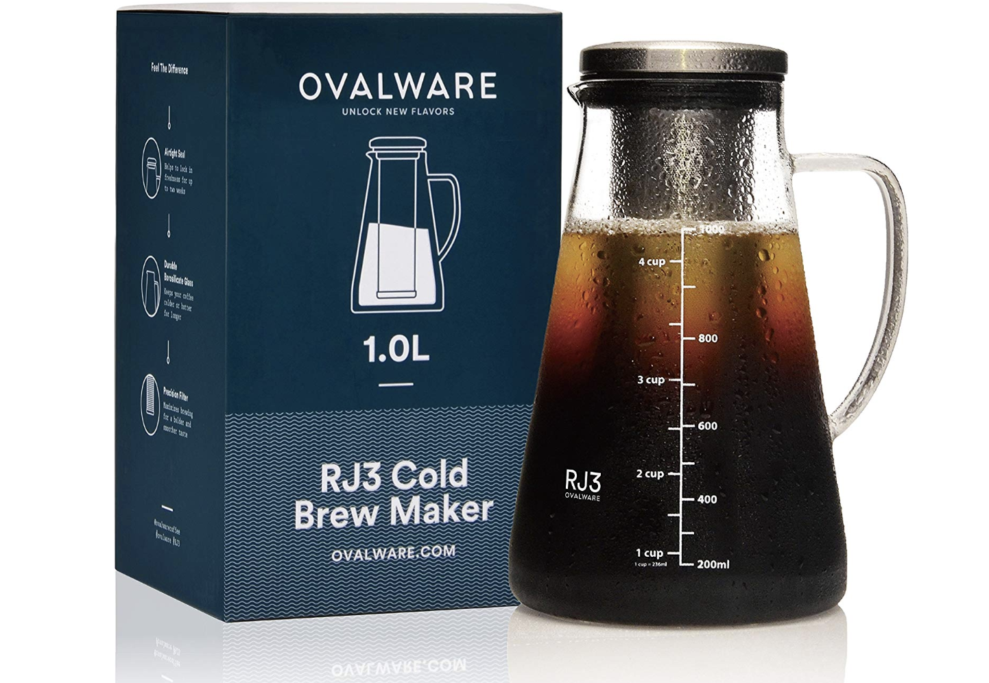 Ovalware Cold Brew Iced Coffee Maker and Tea Infuser