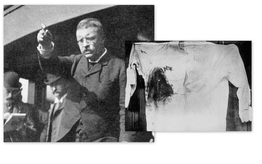 Teddy Roosevelt was shot during a speech, said 'I ain't got time for that!'